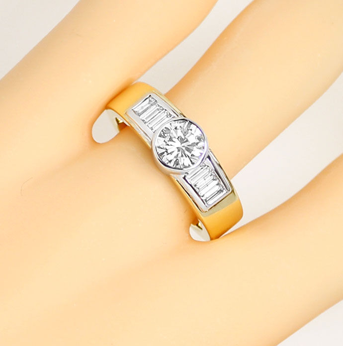 Foto 5, Handarbeits Ring 1,09 Brillant 0,56ct Diamant Baguetten, S9258