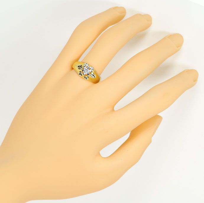 Foto 4, Massiver Ring mit 0,23ct River Brillant in Bicolor Gold, S9266