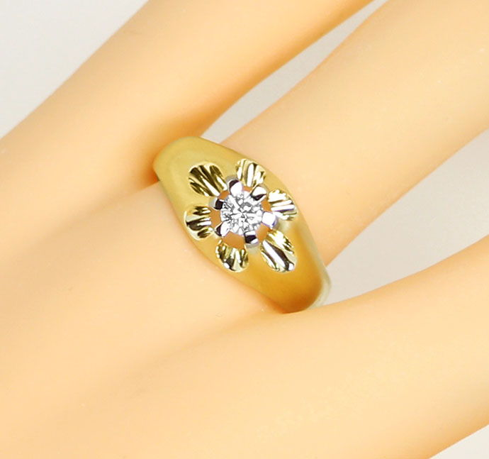 Foto 5, Massiver Ring mit 0,23ct River Brillant in Bicolor Gold, S9266