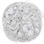 Wappenring mit 0,61ct Diamanten in massiv 14K Weissgold