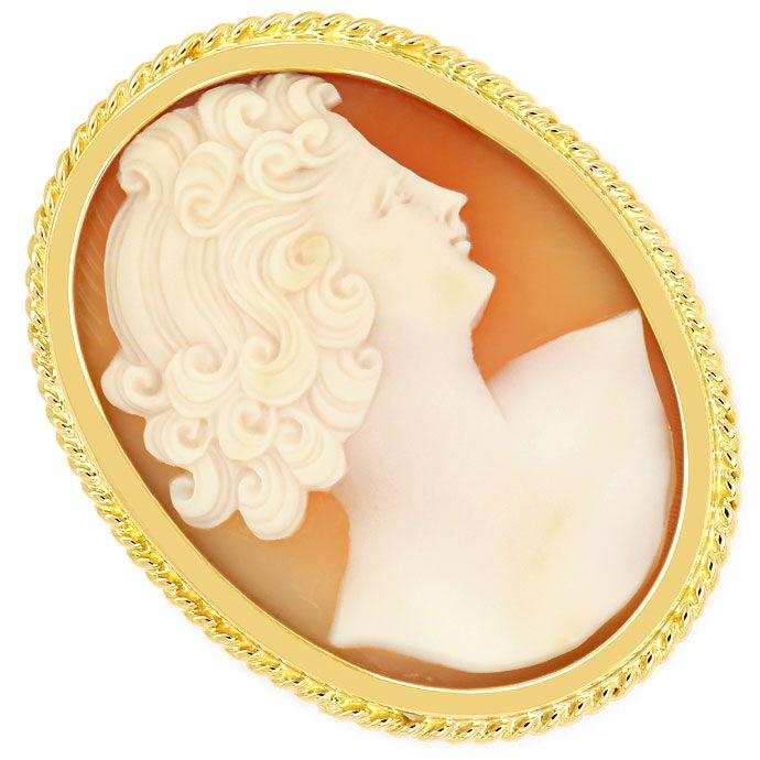 Brosche In Aus Gold Muschelgemme Gemmenbrosche 14kt 585 Gold Mit Gemme . Fine Jewelry Jewelry & Watches