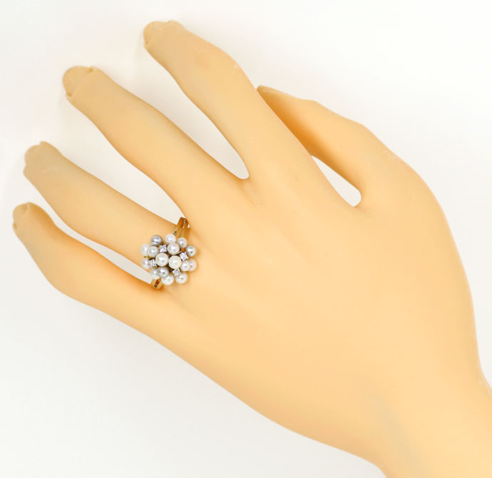 Foto 4, Bezaubernder Gold Ring, 16 Zuchtperlen 0,11ct Diamanten, S9287