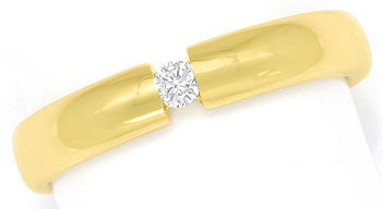 Foto 1, Schicker Spannring mit 0,07ct Brilliant in 14k Gelbgold, S9296
