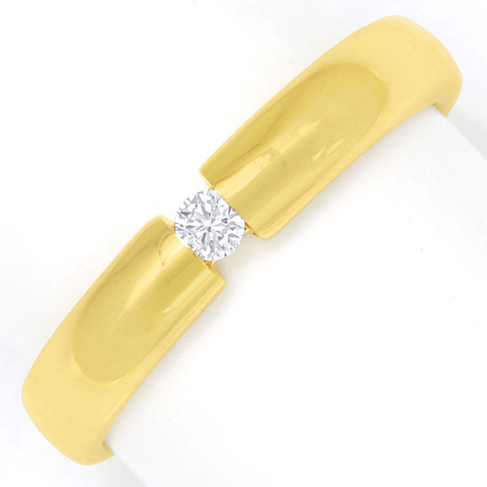 Foto 2, Schicker Spannring mit 0,07ct Brilliant in 14k Gelbgold, S9296