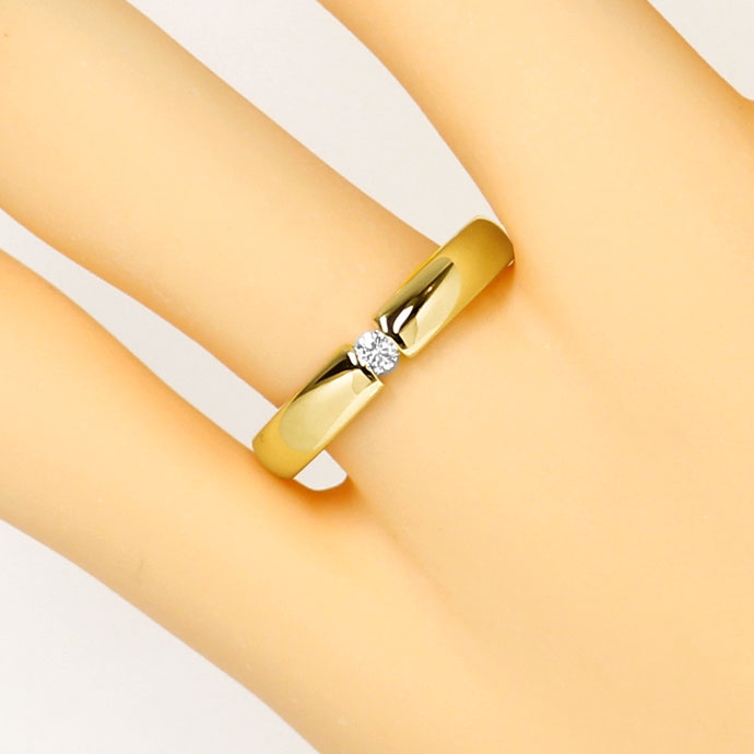 Foto 5, Schicker Spannring mit 0,07ct Brilliant in 14k Gelbgold, S9296