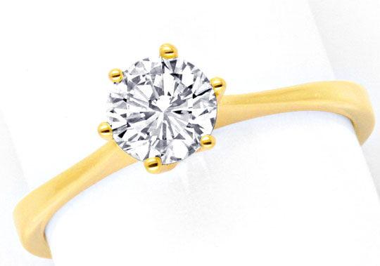 Foto 2, Diamant Krappen Goldring 0,72ct VVS 18K Gold Luxus! Neu, S9304