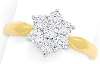 Foto 1, Goldring mit 0,93ct River lupenreinen Brillanten in 585, S9309