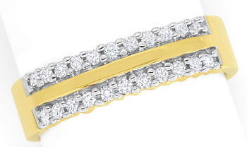 Foto 1 - Diamantring 0,25ct Brillianten in zwei Reihen, 14K Gold, S9310