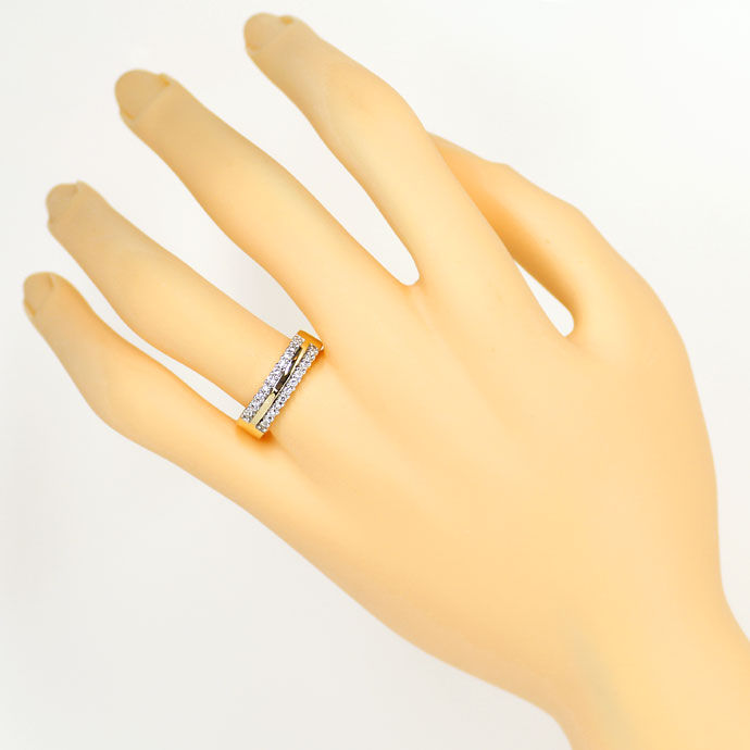 Foto 4, Diamantring 0,25ct Brillianten in zwei Reihen, 14K Gold, S9310