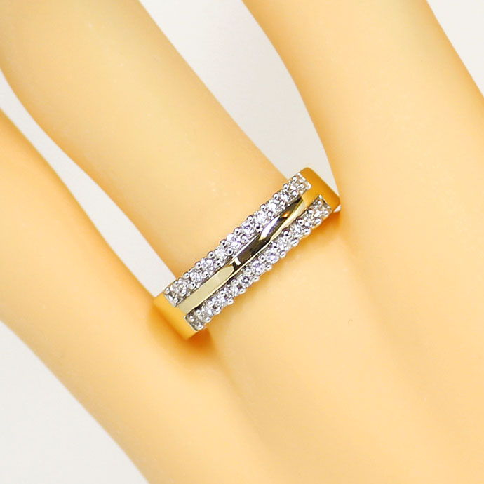 Foto 5, Diamantring 0,25ct Brillianten in zwei Reihen, 14K Gold, S9310