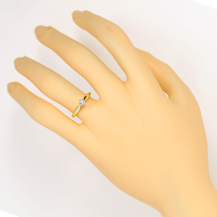 Foto 4, Brillant Solitär Ring mit 0,17ct Wesselton, in 14K Gold, S9314