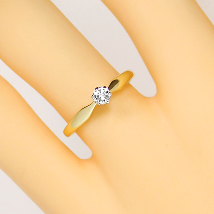Foto 5, Brillant Solitär Ring mit 0,17ct Wesselton, in 14K Gold, S9314