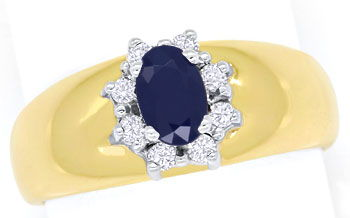 Foto 1, Diamantring Bandring 0,63ct Safir und 0,14ct Brillanten, S9331