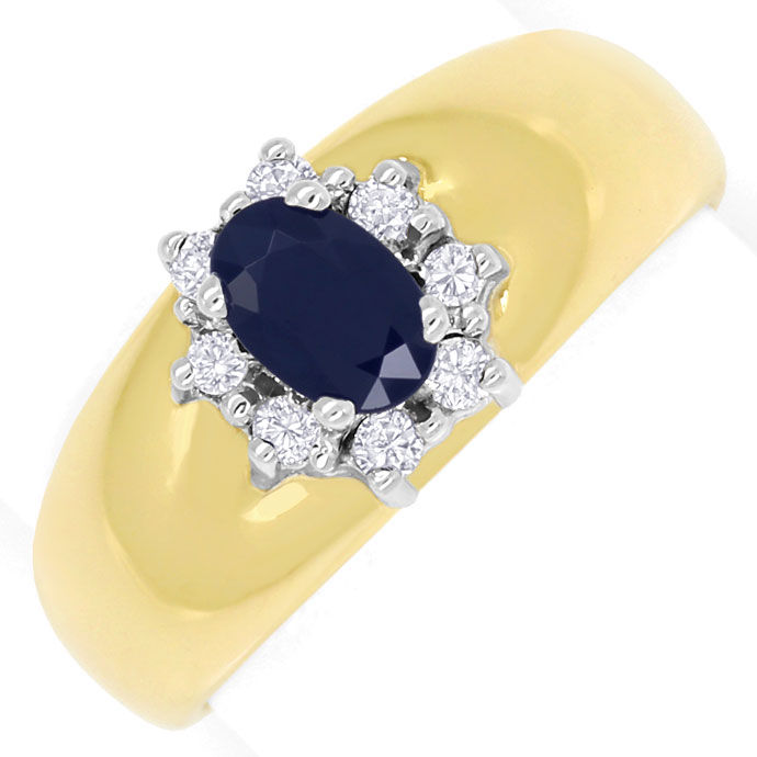 Foto 2, Diamantring Bandring 0,63ct Safir und 0,14ct Brillanten, S9331