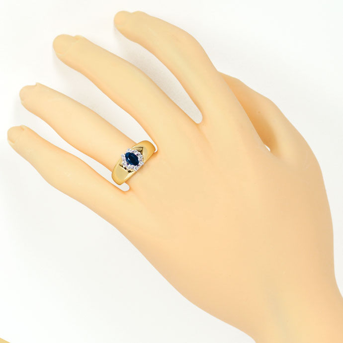 Foto 4, Diamantring Bandring 0,63ct Safir und 0,14ct Brillanten, S9331