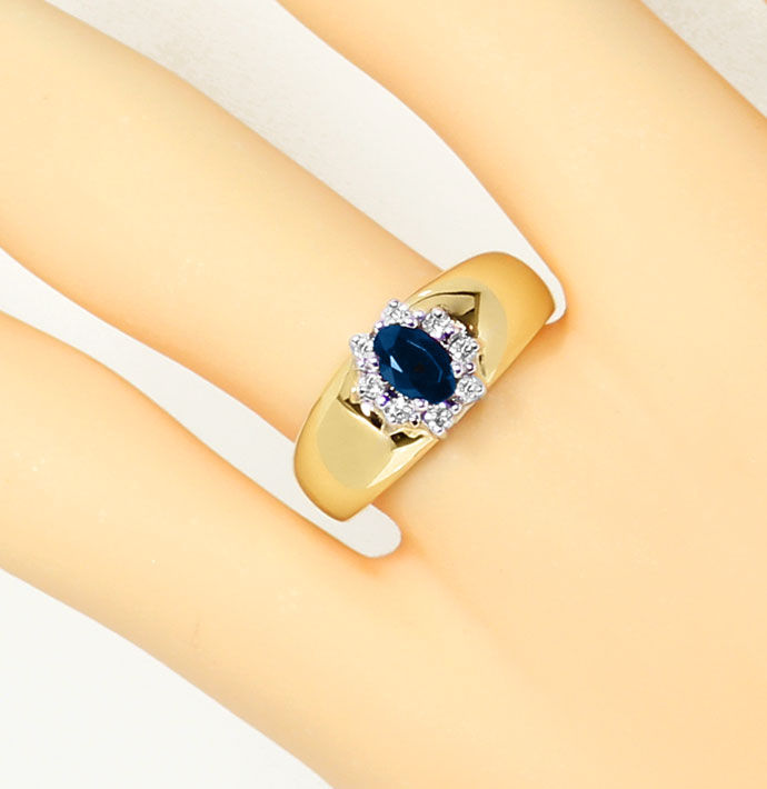 Foto 5, Diamantring Bandring 0,63ct Safir und 0,14ct Brillanten, S9331