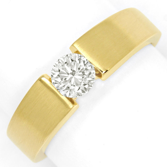 Diamantring massiver Gelbgold Spannring 0,51ct Brillant, Designer Ring