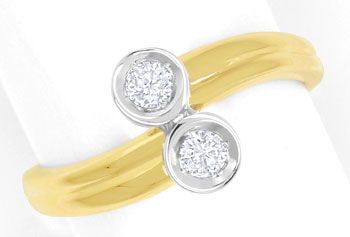 Foto 1 - Diamantring mit 0,23ct River Brillianten in 14K Bicolor, S9333