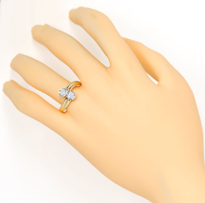 Foto 4, Diamantring mit 0,23ct River Brillianten in 14K Bicolor, S9333
