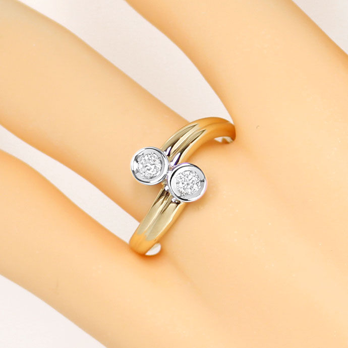 Foto 5, Diamantring mit 0,23ct River Brillianten in 14K Bicolor, S9333