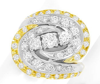 Foto 1 - Diamantring mit 1,12ct Brillanten in Gelbgold Weissgold, S9336
