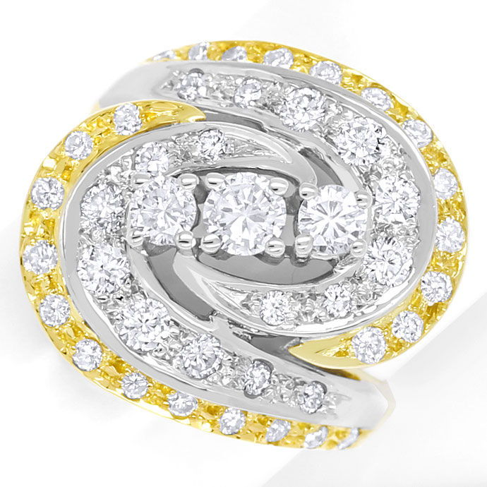 Foto 2 - Diamantring mit 1,12ct Brillanten in Gelbgold Weissgold, S9336