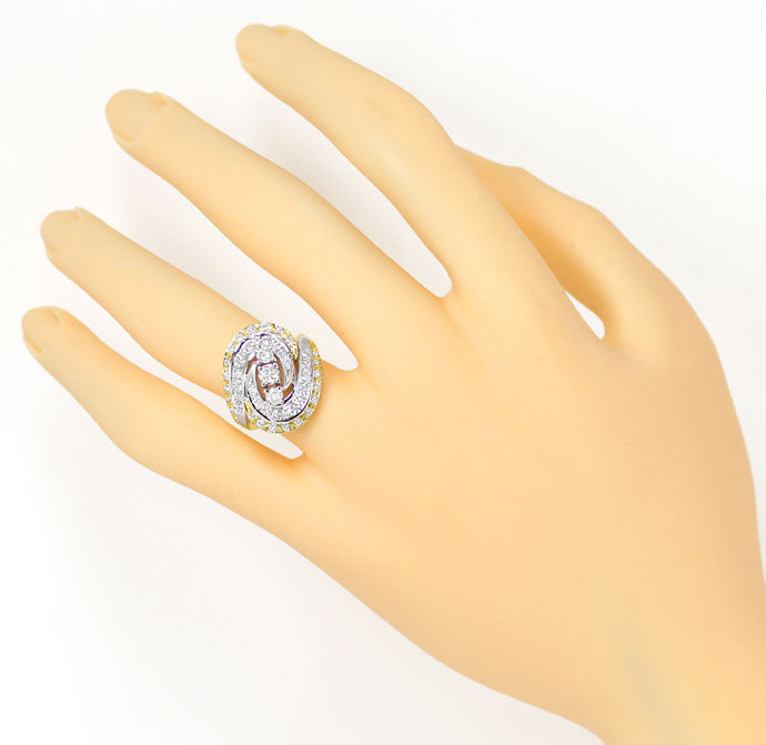 Foto 4 - Diamantring mit 1,12ct Brillanten in Gelbgold Weissgold, S9336