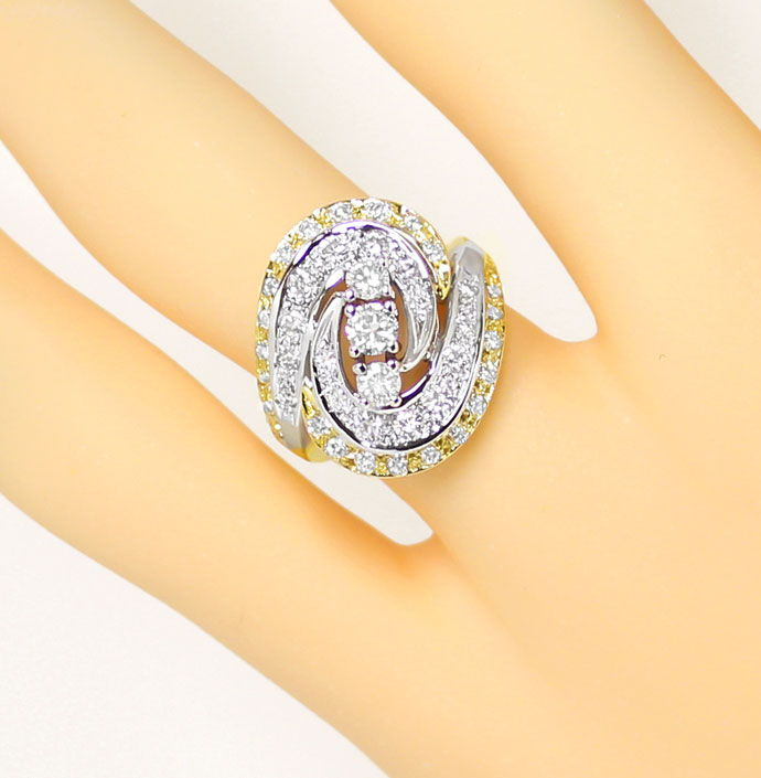 Foto 5 - Diamantring mit 1,12ct Brillanten in Gelbgold Weissgold, S9336