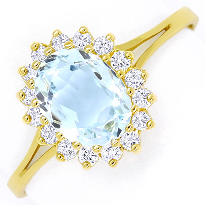 Diamantring 1,55ct Top Aquamarin und 0,32ct Brillianten, Edelstein Farbstein Ring