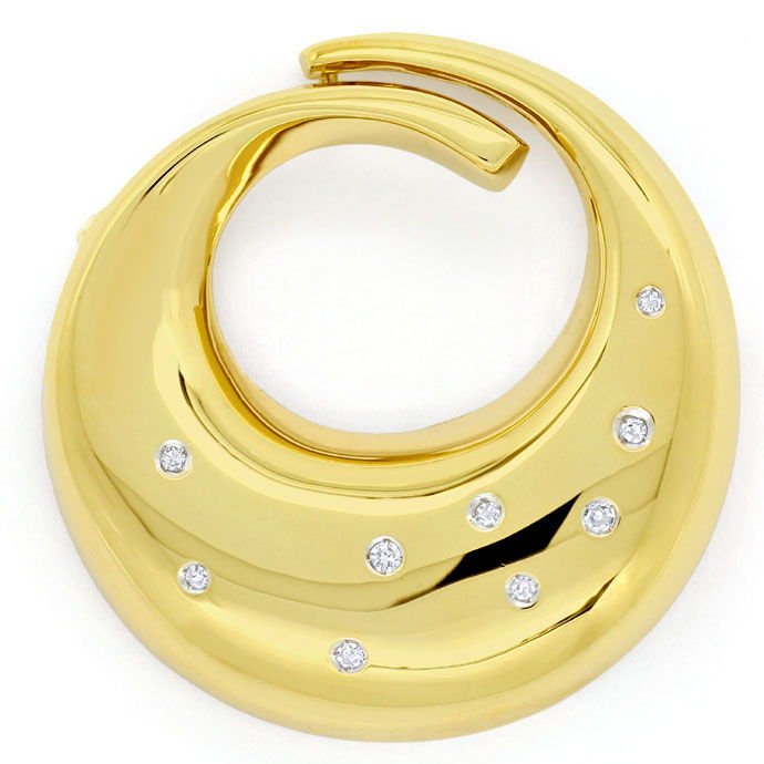 Foto 2, Design-Brosche, Diamanten 0,115ct River in 14K Gelbgold, S9344