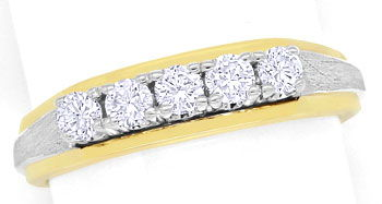 Foto 1, Halbmemory Diamantring mit 0,38ct River Brillanten, 14K, S9349