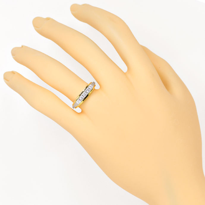 Foto 4, Halbmemory Diamantring mit 0,38ct River Brillanten, 14K, S9349