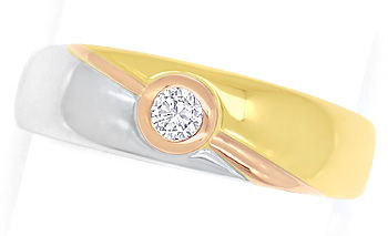 Foto 1, Diamantring mit 0,12ct River Brillant 18K Tricolor Gold, S9352