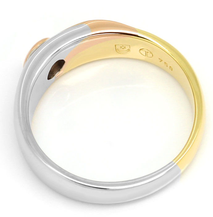 Foto 3, Diamantring mit 0,12ct River Brillant 18K Tricolor Gold, S9352