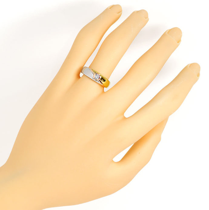 Foto 4, Diamantring mit 0,12ct River Brillant 18K Tricolor Gold, S9352