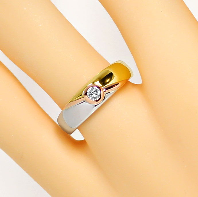 Foto 5, Diamantring mit 0,12ct River Brillant 18K Tricolor Gold, S9352