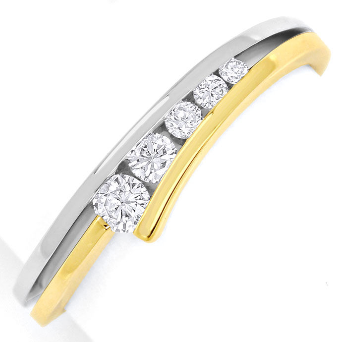 Foto 2, Diamantenring mit 0,23ct Brillanten eingespannt Bicolor, S9364