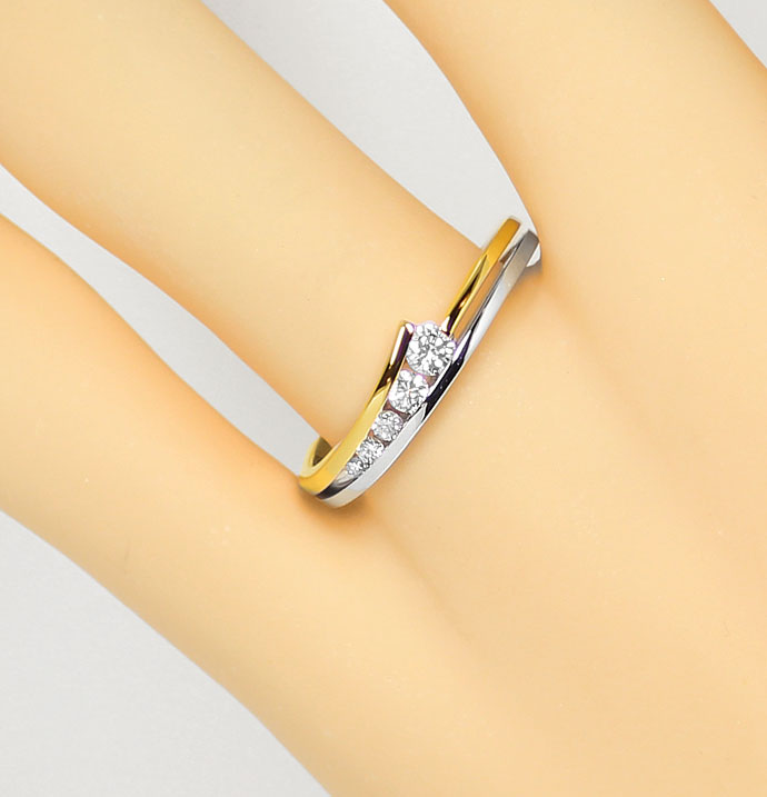 Foto 5, Diamantenring mit 0,23ct Brillanten eingespannt Bicolor, S9364
