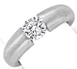 Foto 1, Brillant Diamant Spannring 0,97ct VS1 Weissgold Schmuck, S9366