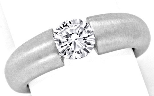 Foto 2, Brillant Diamant Spannring 0,97ct VS1 Weissgold Schmuck, S9366