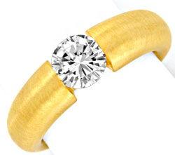 Foto 1, Brilliant Diamant Spannring Einkaräter Gelbgold Schmuck, S9371