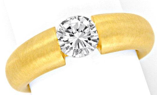 Foto 2, Brilliant Diamant Spannring Einkaräter Gelbgold Schmuck, S9371