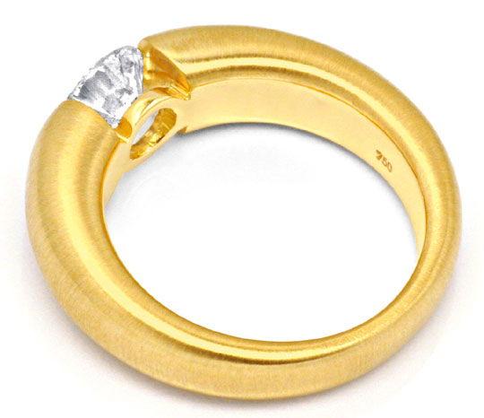 Foto 3, Brilliant Diamant Spannring Einkaräter Gelbgold Schmuck, S9371