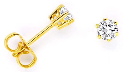 Foto 1, Diamant Ohrstecker Ohrringe 0,54ct Gelbgold Luxus! Neu!, S9372