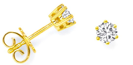 Foto 1, Ohrstecker Brillanten, Gelbgold 0,49ct Diamanten Luxus!, S9373