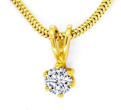 Foto 2, Diamant Gold Kollier 0,26 feines Weiss Lupenrein Luxus!, S9374