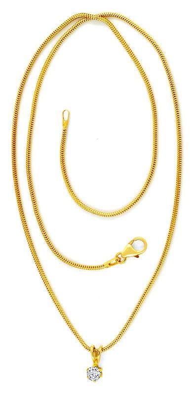 Foto 3, Diamant Gold Kollier 0,26 feines Weiss Lupenrein Luxus!, S9374