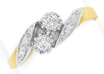 Foto 1, Diamantring mit 0,29ct Brillanten und Diamanten Bicolor, S9376