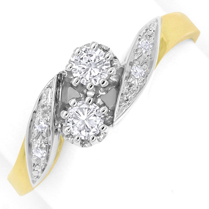 Foto 2, Diamantring mit 0,29ct Brillanten und Diamanten Bicolor, S9376