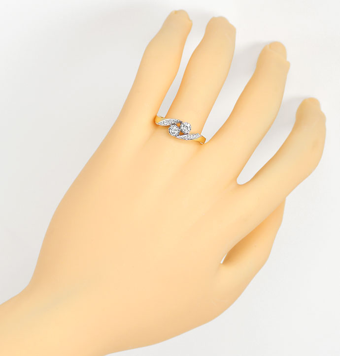 Foto 4, Diamantring mit 0,29ct Brillanten und Diamanten Bicolor, S9376